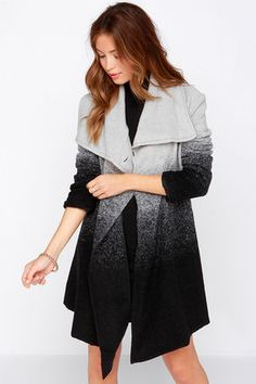 Take the oversized coat trend and kick it up a notch with the BB Dakota Ashlyn Grey and Black Ombre Coat! An oversized shawl collar tops this felted coat, with an asymmetrical front secured with a single button on the left side. A cool gradient color scheme transitions from light grey to black for a beautiful ombre display. Two front welted pockets. Sleeves are lined, bodice is not. Self: 36% Wool, 34% Acrylic, 30% Polyester. Lining: 100% Polyester. Dry Clean Only. Imported.