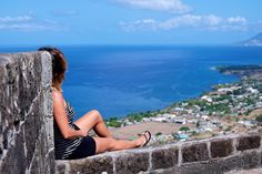 Enjoying the view from Brimstone Fortress Hill, St. Kitts