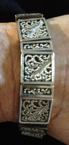 Lois Hill Sterling Silver .925 Bracelet with Intricate Granulation Designs