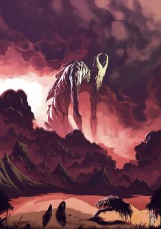 Art featuring giant creatures that dwell on land. Dark Fantasy Art, Fantasy Artwork, Fantasy Creatures, Mythical Creatures, Totoro, Creepy Monster, Cool Monsters, Monster Design, Arte Horror