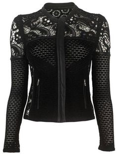 black  *biker* jacket with crochet lace <3