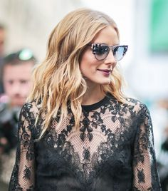 Olivia Palermo's piece-y waves and berry lip color are beautiful
