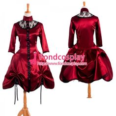 US$ 98.9 - Victorian Rococo Medieval Gown Ball Dress Gothic Satin Cosplay Costume Tailor-Made[G914] - www.fondcosplay.com Red Dress Costume, Cosplay Dress, Cosplay Costumes, Gothic Dress, Rococo Dress, High Quality Costumes, Medieval Gown, Dress Tutorials