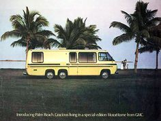 Vintage GMC motorhome. My Barbies had one of these ;-) Can someone rent me a lot so i can buy one of these? We can't park it here, apparently you don't have the right to your own driveways in the south.