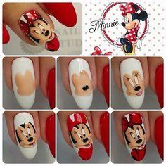 Gel or acrylic nails, Short nails dip powder. Minnie Mouse Nails, Mickey Mouse Nails, Diy Nails, Cute Nails, Nail Art Dessin, Nail Design Spring, Crazy Nail Art, Painted Nail Art, Christmas Nail Art