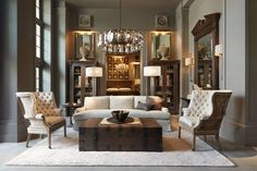 "WHITE ROOM. ""RH - The Gallery at the Historic Post Office"" Restoration Hardware 