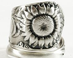 Sunflower Ring, Sterling Silver Spoon Ring, Art Nouveau Flower Ring, Silver Flower Lover Gift, Gardener Gift, Adjustable Ring Size (2845)