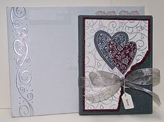 """Wedding Invitations view 4 - Always, Soft Swirls, Floral BG, Full of Life, Whirly Twirly wheel, Jewelry Tag & Label punches,  Sikver cord, Silver ultrafine EP, Gray Organza Ribbon, Sizzix Heart border EF, 4"""" ivory bridal lace trim, dyed crinkled seam binding (Etsy) - Trifold"""