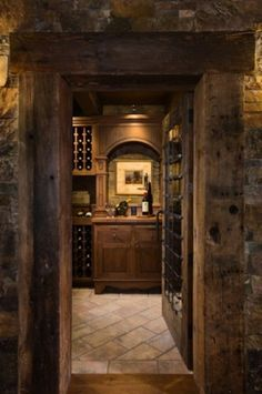 Dark wood and stone. Perfect man cave look... but of course I like it too.