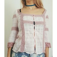 Free People peasant bobo pastel pink lace top S Free People peasant top in very good used condition. Size 6, fits like Small.  Buttons up the front  (please excuse my black bra! ) No stains or flaws. Free People Tops Button Down Shirts