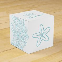 Oh! For the beach wedding! Seastar swirl aqua white wedding favor box party favor boxes. (Price for 10 boxes)