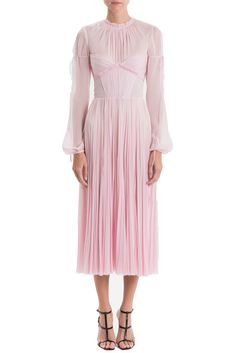 Ruched Bloussant Long Sleeve Hand Pleated Dress