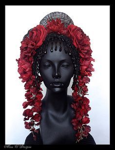 MADE TO ORDER  Red Flower Headdress with Black by MissGDesignsShop, $325.00