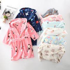 Pink Dot Animal Hooded Bath Robe Towel Soft Flannel Plush Children Pajamas 2t-5t