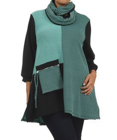 Black & Mint Pin Dot Cowl Neck Top - Plus | Something special every day
