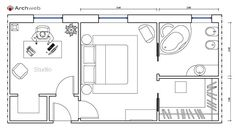 Letto zona notte dwg - sleeping area