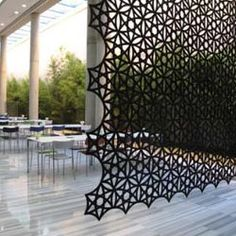 Airflake is a sound absorbing screen made from moulded fiber felt. This modular system is built around the shape of a hexagon in a variety of designs and colours, which can be freely combined to create the screen.