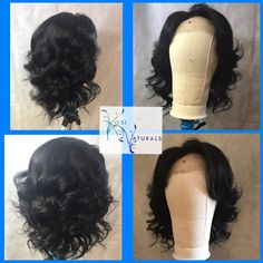"Custom lace wig, 12"" lace frontal on 10 inch bundles , 3 bundles of raw Indian hair, custom color black."