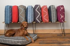 Gray and Blue Geometric Square Dog Bed by FILLYDOG by fillydogco