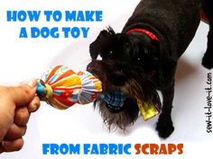 How to make dog toys from scraps! Not wanting to spend another ten dollars, I made my own toy using my scrap sack. It took me about 15 minutes, and my dog is delighted. #dog #toy #sewing