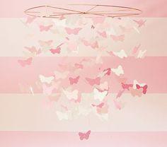 Pink Paper Butterfly Mobile at Pottery Barn Kids - Baby Mobiles - Crib Mobiles Butterfly Nursery, Butterfly Mobile, Bird Mobile, Khloe Kardashian, Paper Mobile, Paper Butterflies, White Butterfly, Pink Paper, Reno
