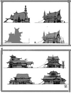 Viking house by Zi yang on ArtStation. Building Sketch, Building Concept, Landscape Drawings, Landscape Illustration, House Illustration, Futuristic Architecture, Architecture Tattoo, Classical Architecture, House Architecture