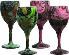 Green and Pink Camouflage Wine Goblets 2 Pink and 2 Green per Packag Glass 091 | eBay