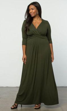 9d193f0e299cf Kiyonna Plus Size Dress Size Olive Green Maxi Desert Rain Style Gown Party