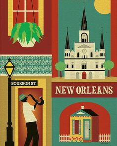 New Orleans, Louisiana Collage Illustration - Wall Art Poster Print - loosepetals at Etsy New Orleans Skyline, New Orleans Map, New Orleans Decor, New Orleans Louisiana, Louisiana Art, Collage Illustration, Illustrations, Collage Art, Travel Illustration