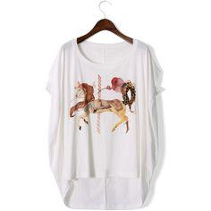 Unicorn Print Oversize T-shirt ($33) ❤ liked on Polyvore