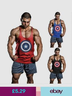 a51bf24c7e65 T-Shirts Men Gym Captain America Bodybuilding Stringer Tank Top Muscle  Fitness Shirt