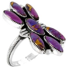 Sterling Silver Ring Purple Turquoise R2036-C77