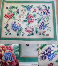 Handpainted OOAK Needlework Canvas Artist Signed Rug Jacobean 3 str 32x36 Floral #JoanneSyrop