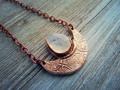 "Crescent Moon ""Lunula"" Bronze Pendant featuring a Rainbow Moonstone"