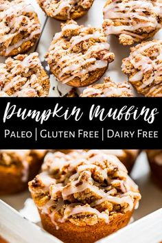 These Pumpkin Spice Streusel Muffins are a fall favorite because they're perfectly moist and fluffy, piled with streusel, and topped with a glaze. They're made completely without refined sugar and are gluten free as well because they're made with almond flour. They're a super easy and healthy addition to breakfast, or packed as a snack! #pumpkinmuffins #glutenfree #glutenfreebaking #paleo #grainfree #dairyfree Primal Recipes, Gluten Free Recipes, Real Food Recipes, Vegan Recipes, Gluten Free Pumpkin, Gluten Free Baking, Paleo Baking, Paleo Breakfast, Breakfast Recipes