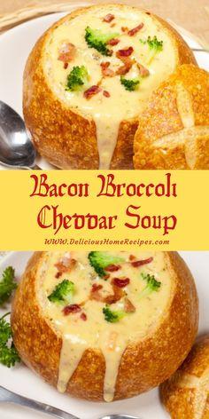 Sopa de queijo cheddar com brócolis e bacon Sopa de queijo cheddar com brócolis e bacon - - Gourmet Recipes, Soup Recipes, Cooking Recipes, Salad Recipes, Smoothies, Broccoli Cheddar, Broccoli Soup, Bread Bowls, Healthy Breakfast Recipes