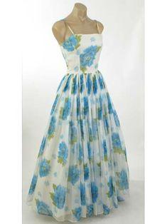 60s Vintage Blue & White Floral Chiffon Gown  #VintageDress #SummerDress #authenticvintage