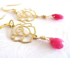 Ruby earrings Fuchsia hot pink ruby wirewrapped gold earrings by Vitrine