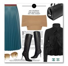 """""""Leather Pleated Skirt"""" by leanne-mcclean ❤ liked on Polyvore featuring COSTUME NATIONAL, Aviù, Marissa Webb, Jimmy Choo, Blue Vanilla and Chanel"""