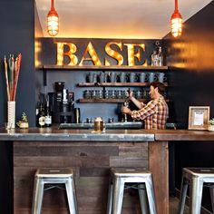 South Lake Tahoe (South Lake Tahoe, CA This intimate coffee shop-slash-bar is a cozy spot to mingle and swap stories.This intimate coffee shop-slash-bar is a cozy spot to mingle and swap stories. Basement Bar Designs, Home Bar Designs, Basement Ideas, Basement Decorating, Decorating Ideas, Rustic Basement, Modern Basement, Small Basement Bars, Industrial Basement