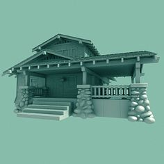 craftsman home bungalow 3d model - Airplane_Bungalow1.3DS... by The Cimarron Group