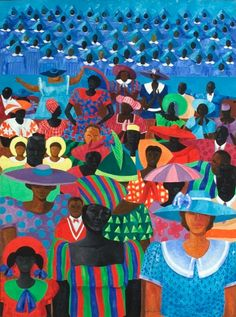 """Worshipping from afar. 💙 — Jonathan Green, """"The Congregation"""" Oil on canvas. Purchased w/ funds from Julia J Norrell + 2005 Morris Museum of Art Gala. African American Artist, American Artists, Jonathan Green, Jonathan Yeo, Patriotic Pictures, Black Love Art, Pretty Black, Caribbean Art, Beauty In Art"""