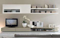 Arredare il soggiorno con il color tortora - Parete attrezzata tortora e bianca