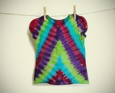 Girls Tie Dye Tshirt  Size 4T  Hand dyed  Colorful by LKBcolour