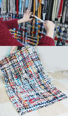 Diy potholder rug tutorial knit n sew homemade rugs, rugs, s Fabric Crafts, Sewing Crafts, Sewing Projects, Fabric Yarn, Scrap Fabric, Tapetes Diy, Homemade Rugs, Braided Rugs, Loom Knitting