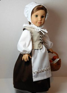 From 2012 - 6-Piece Pretty Pilgrim modeled on Rebecca made from a Keeper's Dolly Duds pattern