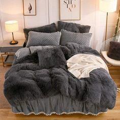 Room Ideas Bedroom, Bedroom Decor, Dark Grey Bedding, Gray Bed Set, Bedroom Comforter Sets, Queen Bedding Sets, Fluffy Bedding, Cozy Room, Dark Cozy Bedroom