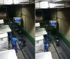 Dupla é filmada arremessando malas de passageiros em esteira +http://brml.co/1auKULS