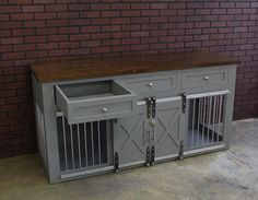 Rustic Dog Crate with Drawers - Sliding barn doors / crate with storage / Dog Ho. Rustic Dog Crate with Drawers – Sliding barn doors / crate with storage / Dog House / rustic furn Metal Dog Kennel, Dog Kennel Cover, Exterior Entry Doors, Interior Barn Doors, Dog Crate Furniture, Rustic Furniture, Farmhouse Furniture, Dog Houses, Dog Care