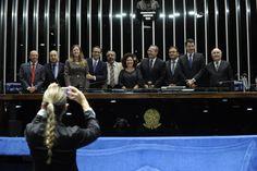 Voto aberto é conquista da sociedade, diz Presidente do Congresso, Renan Calheiros (PMDB-AL), após promulgar matéria (28/11/2013). Foto: Jane de Araújo.